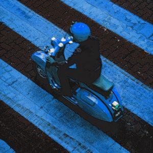 TM1476 automotive scooters blue stripes