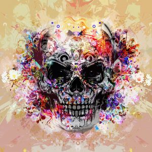 TM2009 skull graphic grunge art