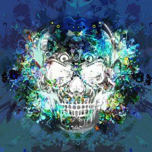TM2010 skull graphic grunge art invert