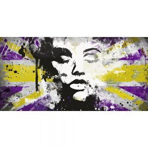 TM2024 girl silhouetter union jack grunge purple