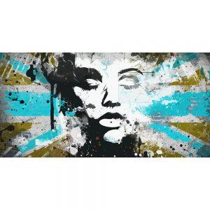 TM2025 girl silhouette union jack grunge blue