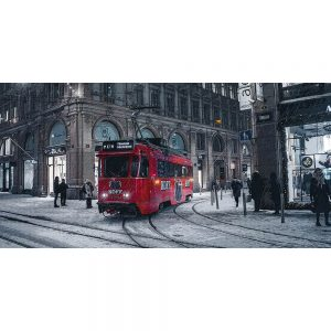 TM2305 tram in snow storm red
