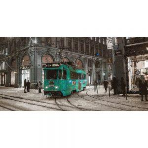 TM2306 tram in snow storm turquoise