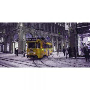 TM2307 tram in snow storm yellow