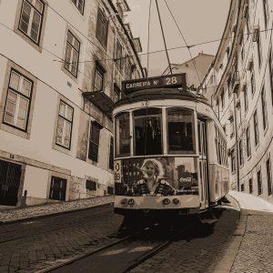 TM2314 tram down street sepia