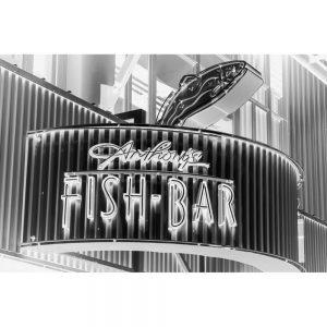 TM2410 fish bar neon sign mono invert