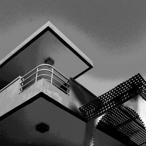 TM2814 retro apartment balcony mono sky