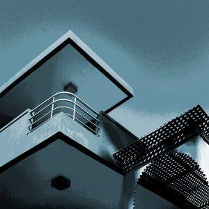 TM2816 retro apartment balcony light blue sky