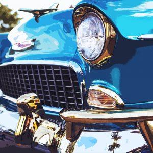 TM2833 american classic car chrome blue