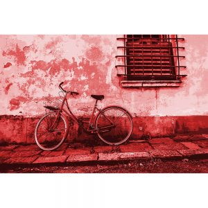 TM2857 retro bicycle bike old building bright red