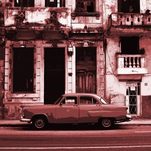TM2874 cuban classic american car light red