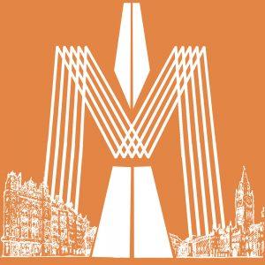 SG2587 manchester city factory records mrc hacienda bright funky orange skyline