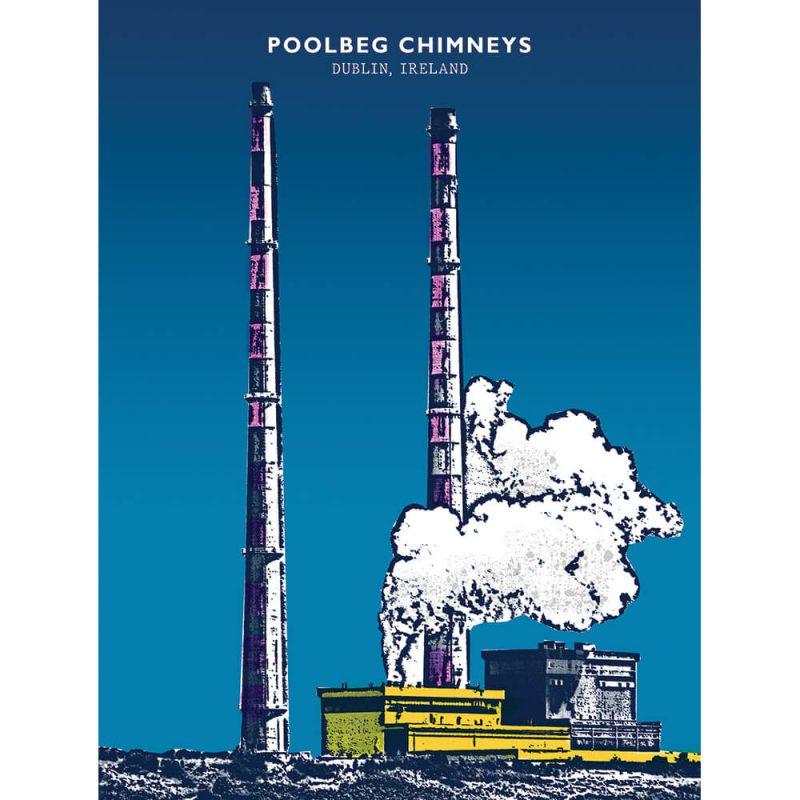 SG2592 poolbeg chimneys dublin ireland bright city funky