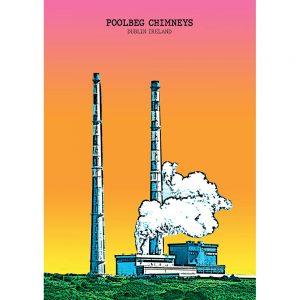 SG2593 poolbeg chimneys dublin ireland bright city funky