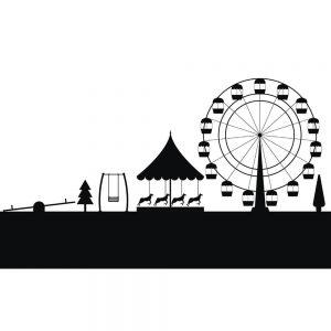 SG2647 amusement park ferris wheel silhouette