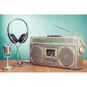 SG2758 retro stereo radio cassette tape recorder microphone headphones