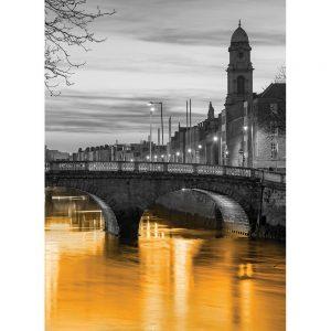 SG3810 dublin ireland cityscape skyline orange wash black white