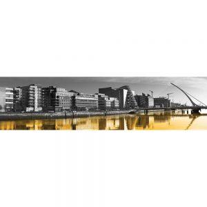 SG3812 dublin ireland cityscape skyline orange wash black white